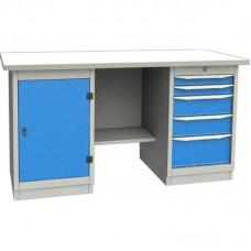 GARWIN 004065-1 Верстак двухтумбовый с дверцей и 5 ящиками с оцинкованной столешницей 1700 мм (синий RAL5005)