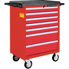 Licota AWX-2603RTSBK02 Тележка инструментальная 366 пр., 7 полок, пласт. стол., ложемент-кейс, красная