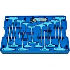 Licota ACK-B1002 Набор ключей Т-образных шестигранных и торкс, с пластиковой рукояткой, 26 пр., в ложементе