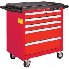 Licota AWX-2602RTSEK01 Тележка инструментальная 256 пр., 5 полок, пласт. стол., красная