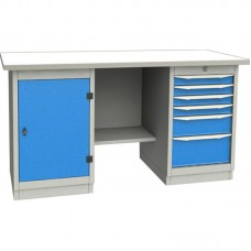 GARWIN 004070-1 Верстак двухтумбовый с дверцей и 6 ящиками с оцинкованной столешницей 1700 мм (синий RAL5005)