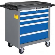 Licota AWX-2602BTS Тележка инструментальная, 5 полок, пласт. столешница, сине-серая