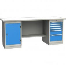 GARWIN 004070-4 Верстак двухтумбовый с дверцей и 6 ящиками с оцинкованной столешницей 2000 мм (синий RAL5005)
