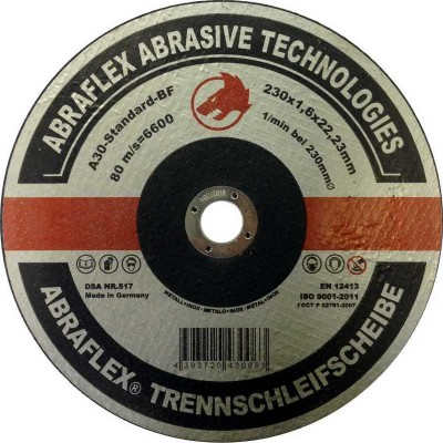 Abraflex УТ0007365 Круг отрезной 230x1,6x22,23 A30 S-BF41 мет/нерж