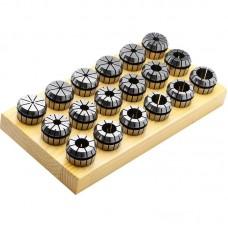 GARWIN 325008-25*15 Набор цанг ER 25 на деревянной подложке, 15 предметов, 0,015 мм