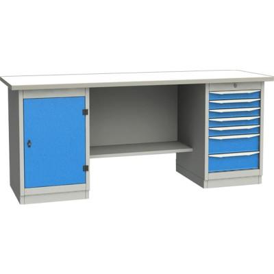GARWIN 004075-4 Верстак двухтумбовый с дверцей и 7 ящиками с оцинкованной столешницей 2000 мм (синий RAL5005)